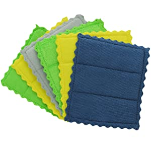 Envision Home 428401 Kitchen Cleaning Sponge Cloths, 6 Pack Quilted