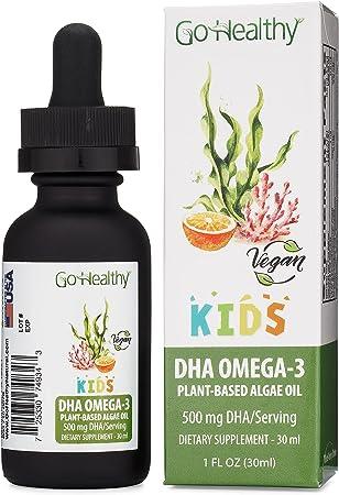 Kids Omega-3 DHA/EPA Algae Oil by Go Healthy Vegan Plant-Based, Orange 30ml Glass 30-60 Servings