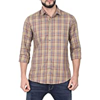 McHenry Mens 100% Cotton Regular Fit Casual wear, Checkered Shirts(Size:39-S,40-M,42-L,44-XL)