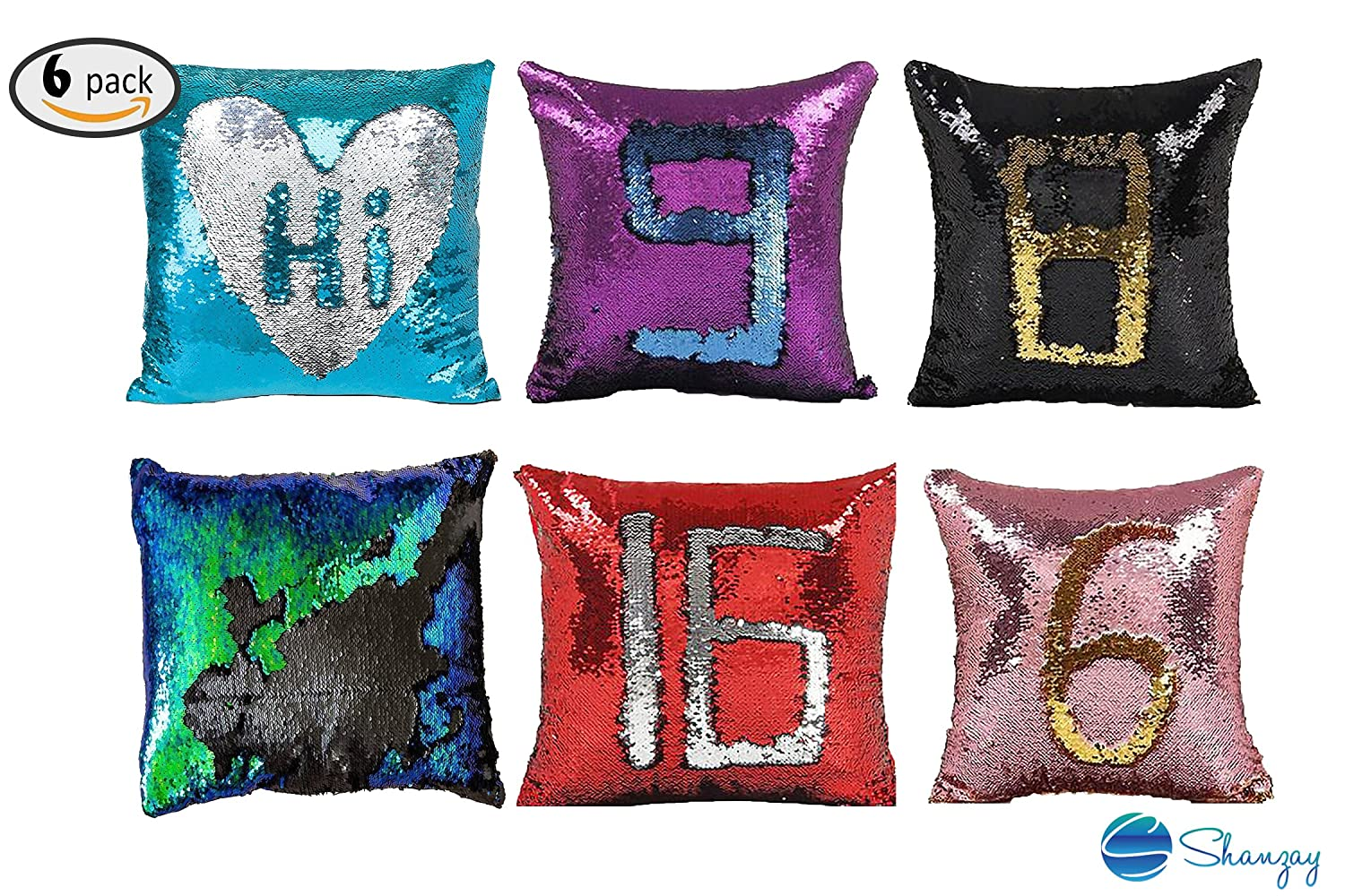 Pillow Case Sequin Mermaid Reversible, Glitter Sofa Cushion Cover, Pillow Case Double Color Pillowslip Case cover Tailor Reversible BY SHANZAY