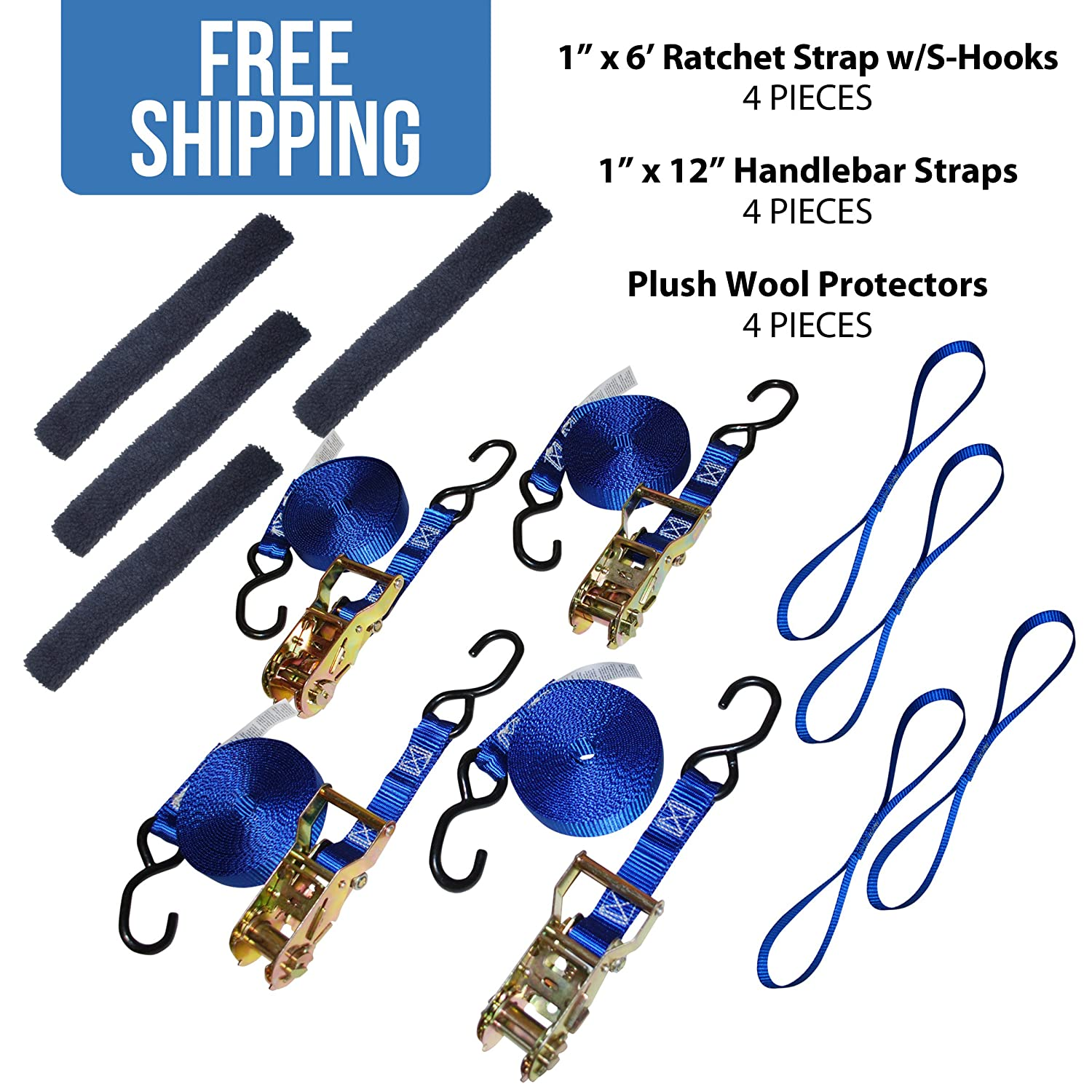 Plush Wool Protector for Ratchet and Tie Down Straps Shippers Supplies 4 Pack