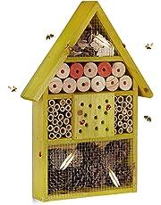 Relaxdays Hôtel à Insectes Maison à Papillon Bois Jardin Balcon Abeilles HxlxP: 40 x 27,5 x 7 cm, Vert, 7 x 27,5 x 40 cm