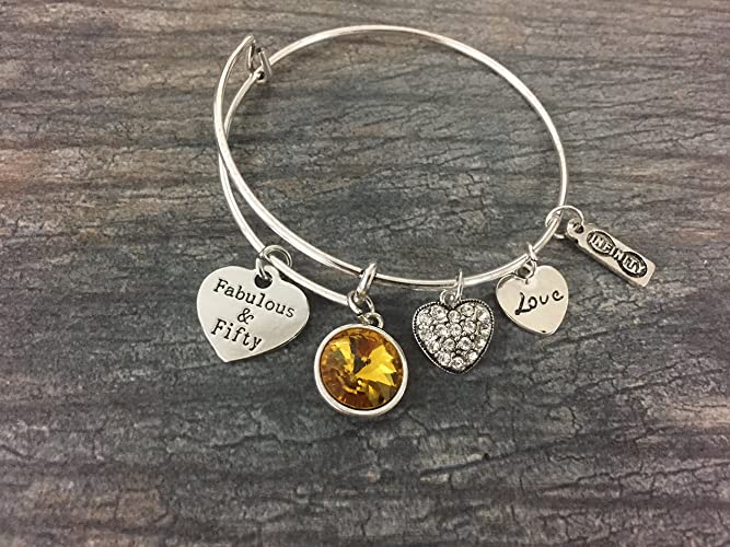 Personalized 50th Birthday Gifts For Women Custom Expandable Charm Bracelet With Birthstone Adjustable Bangle Perfect