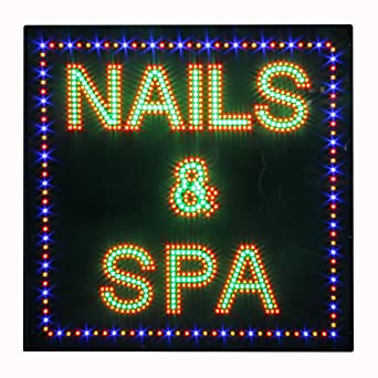 LED Nails Spa Pedicure Open Light Sign Super Bright Pizarra ...