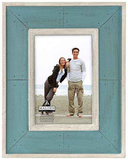 Gray Malden International Designs Sun Washed Woods Gray Distressed With Inner Frame Border Picture Frame 5x7