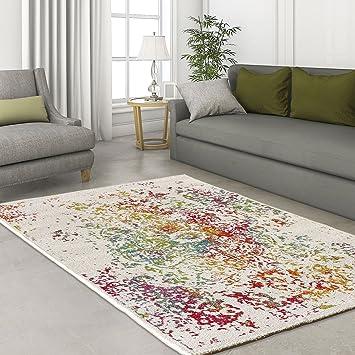 Sanat Teppich Design Modern Hochwertig Wohnzimmer Ornament Klex Bunt