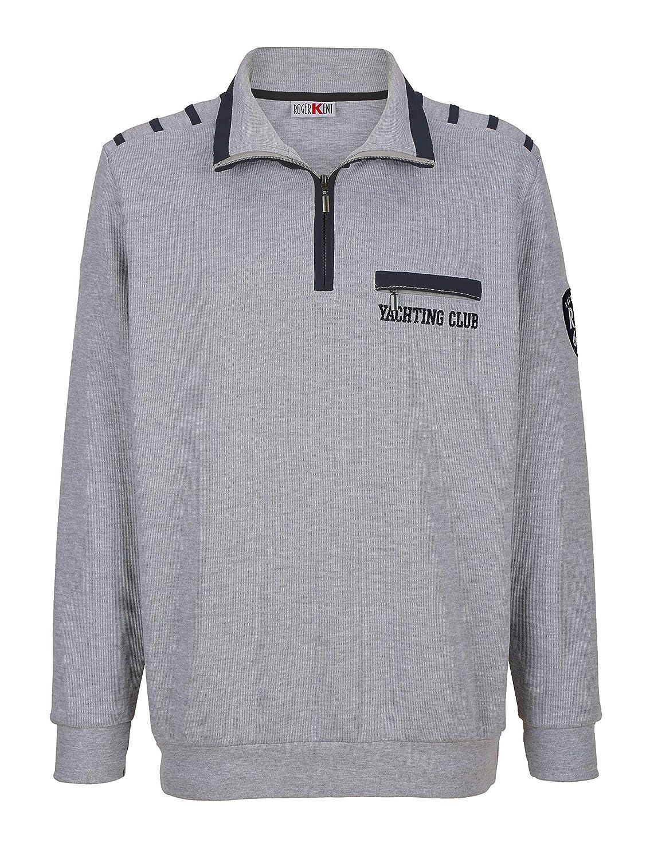 Roger Kent Herren Sweatshirt Baumwolle mit Kontrastdetails Hautsympathisch 62