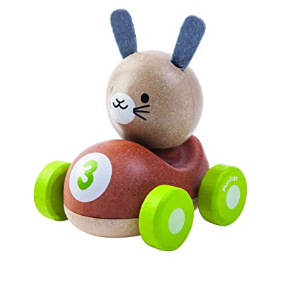 PlanToys Wooden Bunny Rabbit Racer Push and Pull Racing Car (5680) | Sustainably Made from Rubberwood and Non-Toxic Paints and Dyes | PlanWood: Toys & Games
