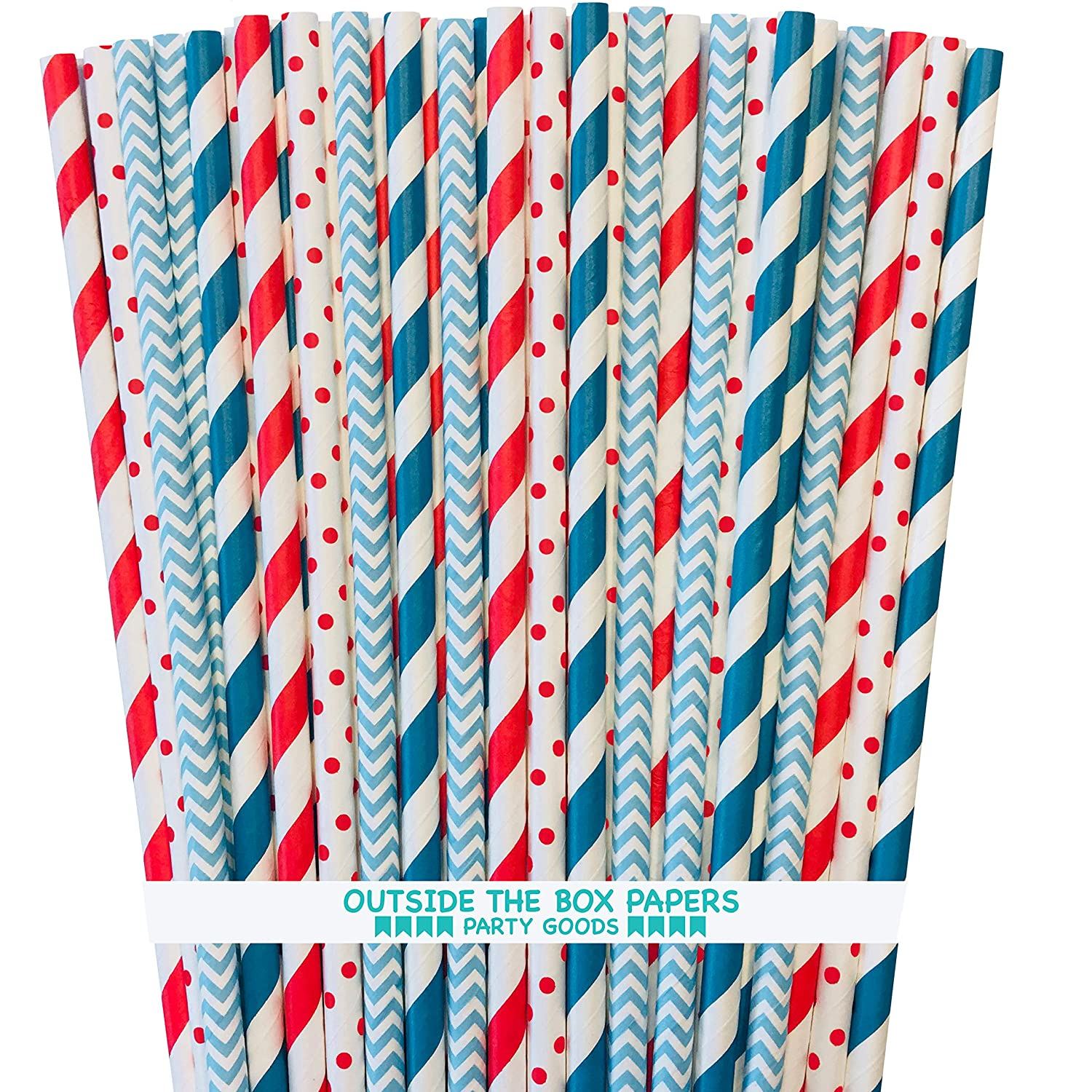 Dr. Seuss Themed Paper Straws - Polka Dot Chevron Stripe - Teal Blue Red White - 7.75 Inches - 100 Pack