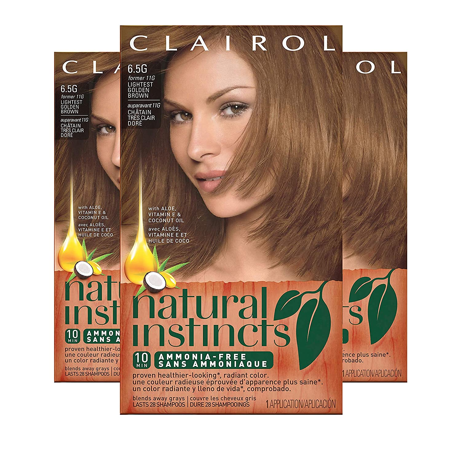 Clairol Natural Instincts Hair Color, Shade 6.5g 11g/amber Shimmer, 3 Count(Packaging may Vary)