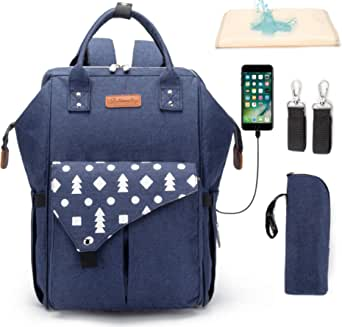 Diaper Bag,Lumcrissy Waterproof Diaper Bag Backpack Large Baby Bag for Mom and Dad with USB Charging Port,Stroller Straps