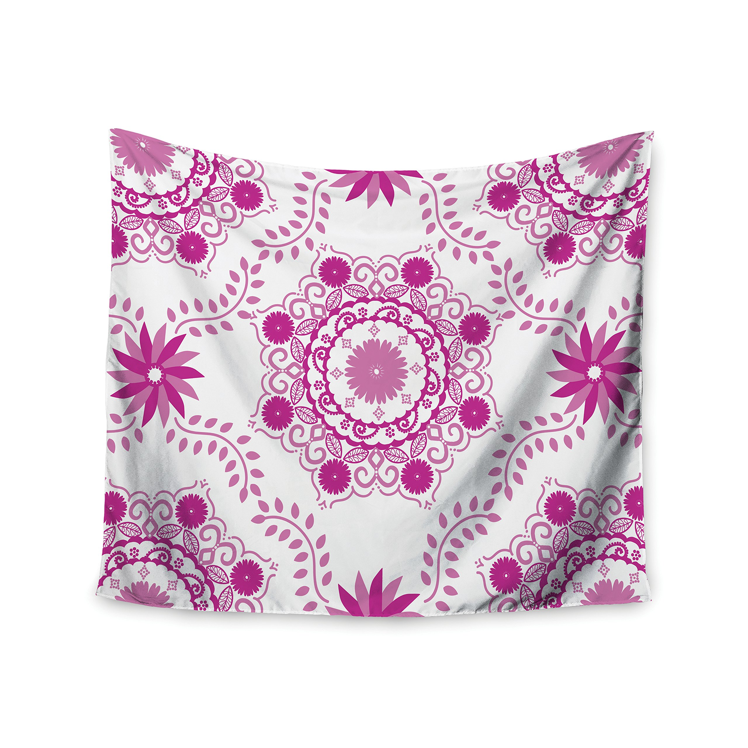 KESS InHouse Anneline Sophia ''Let's Dance Fuschia'' Pink Floral Wall Tapestry, 68'' X 80''''