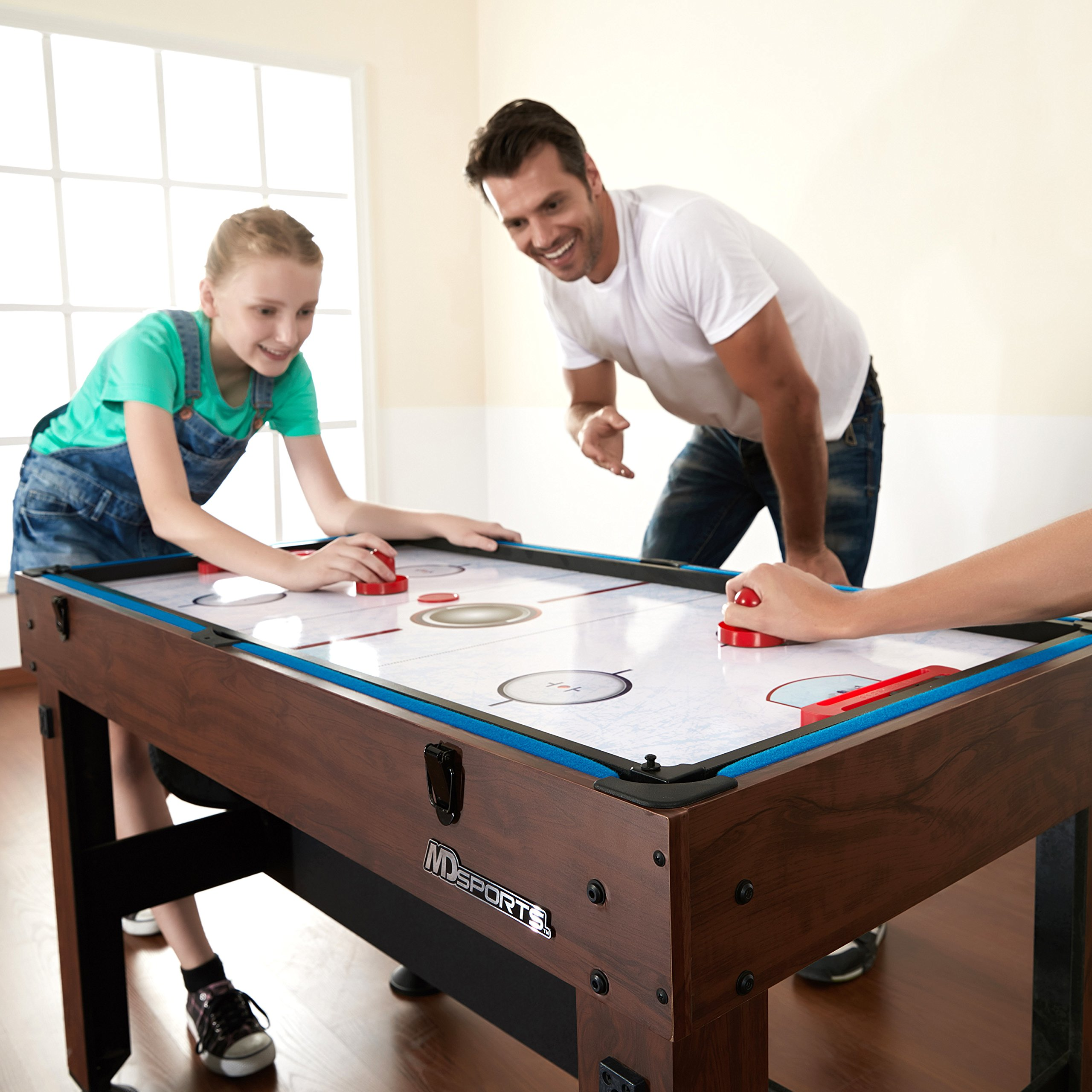 54'' 4-in-1 Combo Entertainment Game Table with Soccer, Slide Hockey, Table Tennis, and Billiards by MD Sports