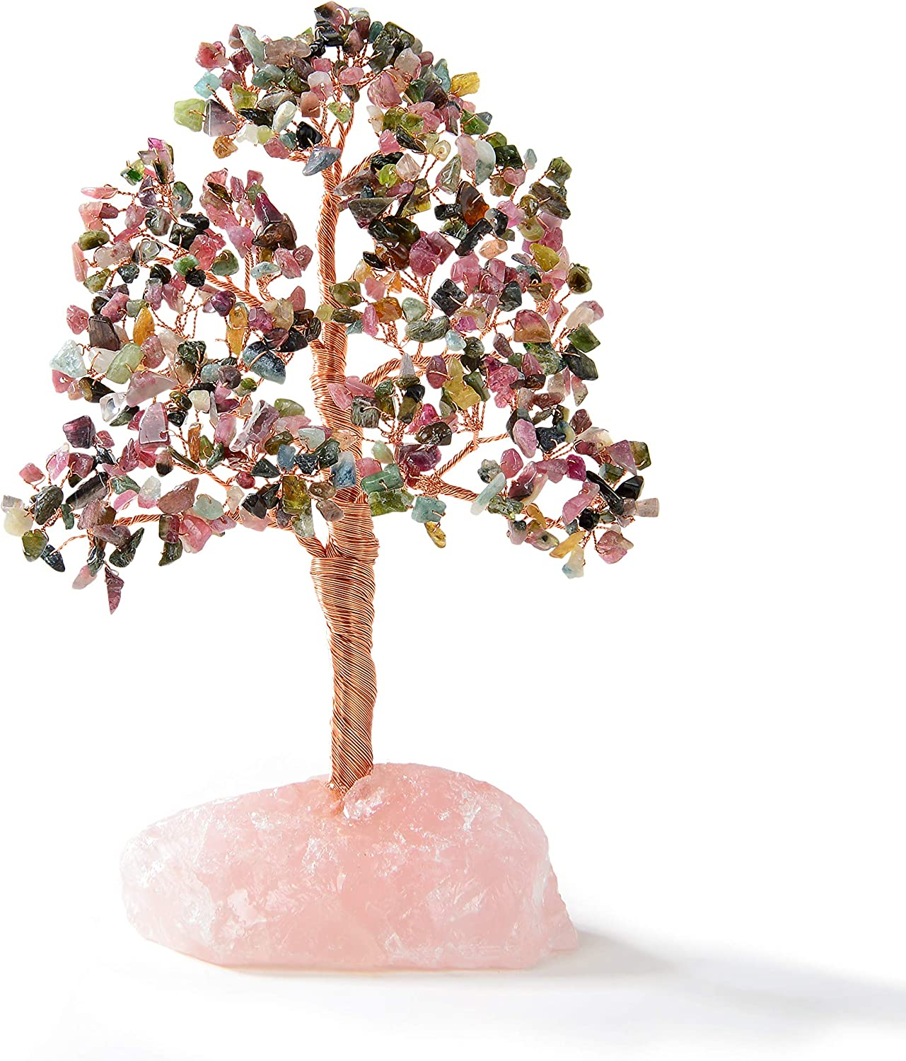 KALIFANO Premium Natural Tourmaline (414 Gemstone Count) Chakra Crystal Tree with Rose Quartz Base with Healing Properties- Bonsai Feng Shui Money Tree for Relaxation and Stability