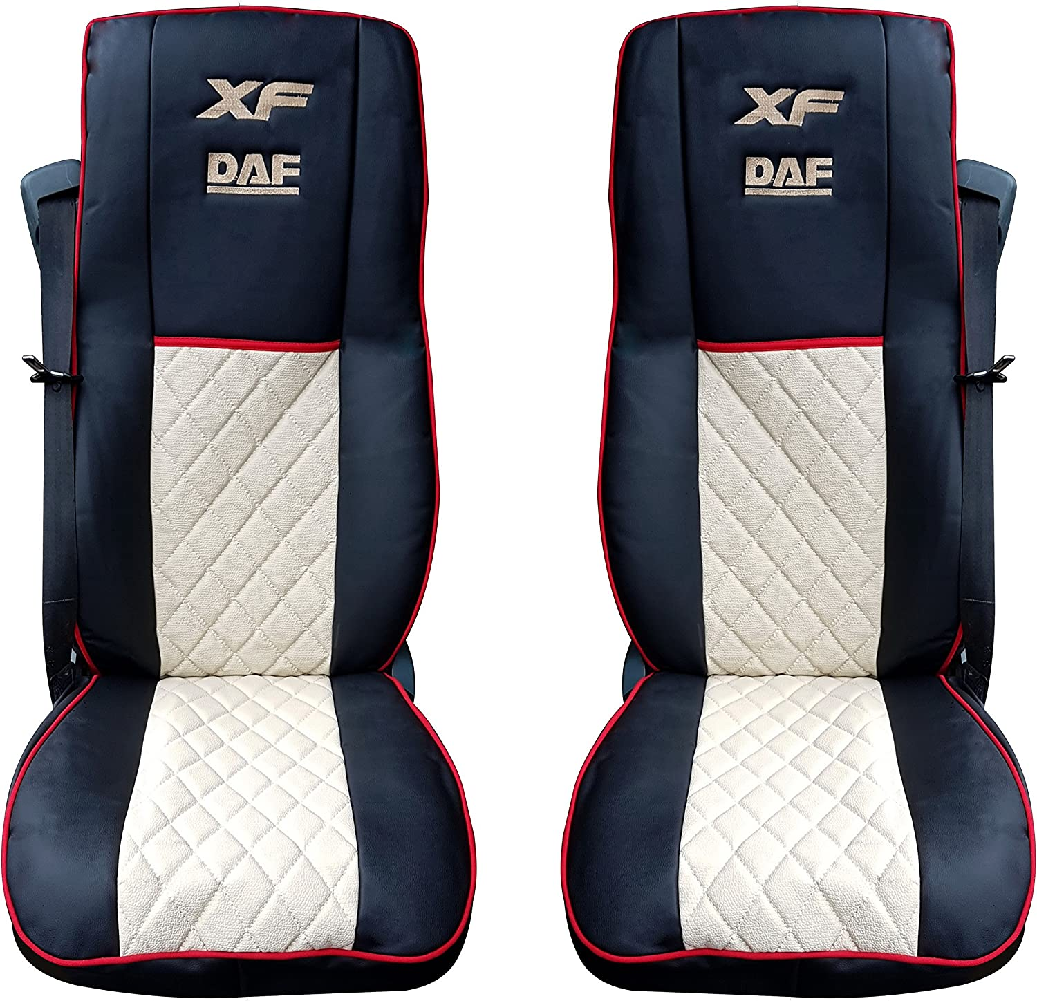 Set of 2 Pcs High Quality Truck Seat Covers Protectors Cabin Trucker Accessories Decoration BLACK BEIGE Colour 100/% Eco Leather