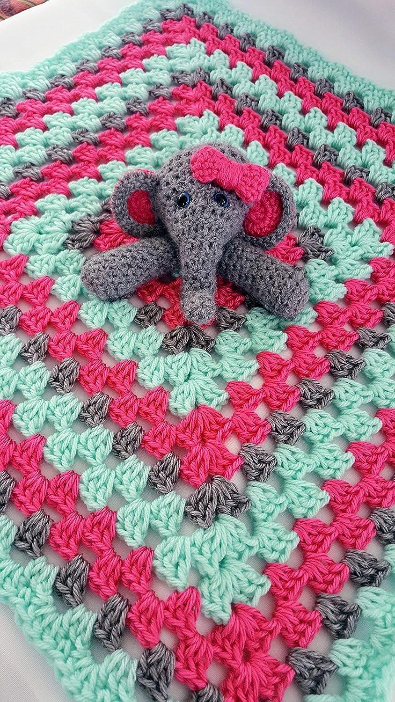 Amazon com: Crochet elephant baby lovey blanket security