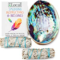 JL Local Origins Smudging Kit - 2 White Sage Smudge Stick + Abalone Shell Bowl | Sustainably Sourced Healing Incense for Home Cleansing, Protection, Meditation, Positive Energy