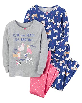 0a2bea941e3b Amazon.com  Carter s Girls  2T-4T 4 Piece Dog Snug Fit Cotton PJs 2T ...
