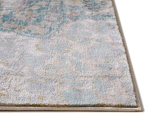Well Woven Kensington Ciato Blue Modern Medallion Vintage Distressed Area Rug 5 3 x 7 3