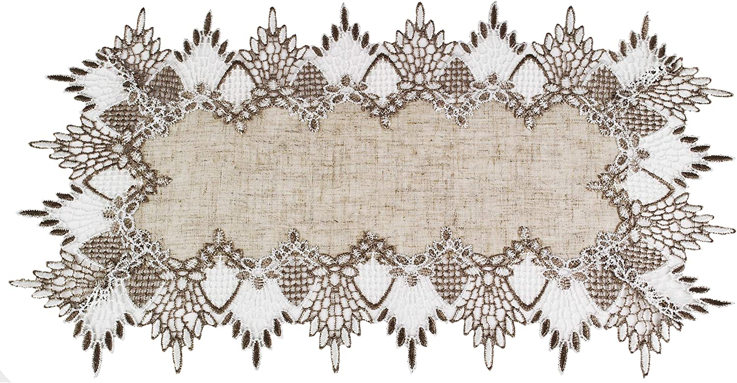 Linens, Art and Things Lace Place Mat 12 W x 21 L Inch Neutral Earth Tones Place Mat Dresser Scarf Coffee Table Runner End Table Doily