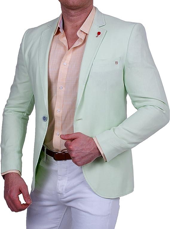 Herren Sakko Einknopf Slim-Fit Blazer Weiß Casual Hahnentritt Jacke Jackett NEU