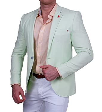 c7b5a20da8f0 Herren Casual Leinen-Look Blazer, Gestreifte Feinstruktur, Pastell Farbe,  Slim-Fit Sakko, Einknopf Jackett  Amazon.de  Bekleidung