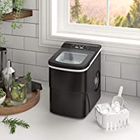 Cloud Mountain Countertop Portable Ice Maker Ice Making Machine - Ice Cube Ready in 6 Mins - Makes 26 lbs Ice in 24 hrs - Great for Home Office Bar Party - Includes Basket and Ice Scoop(Black)