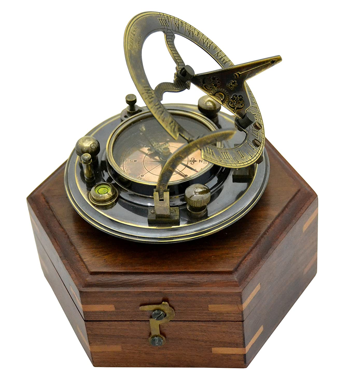 Antique Sundial Compass Replica 3in in Hardwood Box - Solid Brass Pocket Sundial - West London