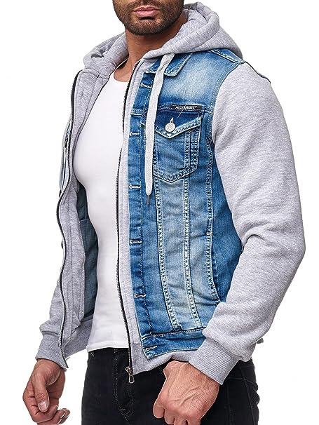 Redbridge Hombres Chaqueta de Jeans Moderno Sudadera Biker Jackets con Capucha: Amazon.es: Ropa y accesorios