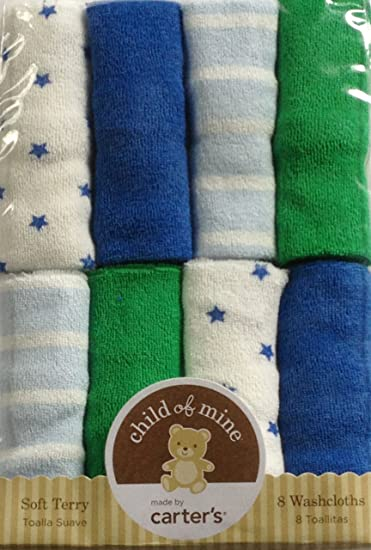 Amazon.com : Child of Mine Blue and Green Solid Stripe and Star Print Washcloths, Boy, 8-Pack : Nursery Blankets : Baby