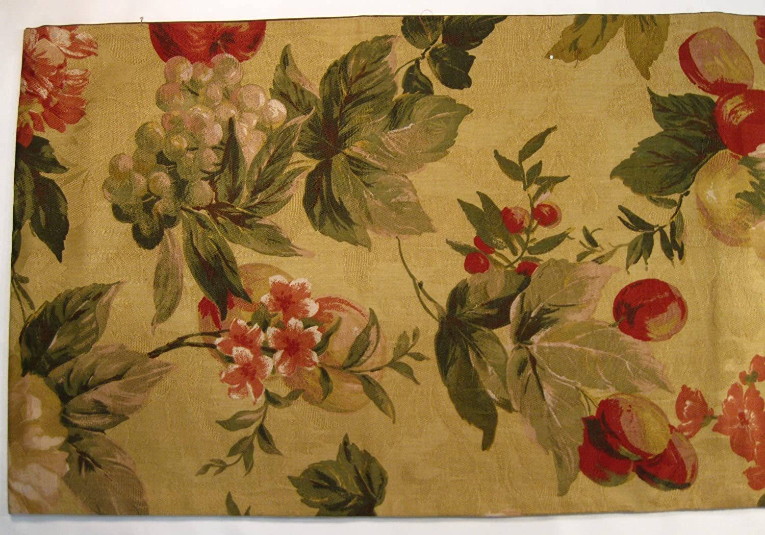 Karen Lee Ballard 90 x 16 Green Leaves and Red Cherries Table Runner Made in The USA Magnolia Blossoms