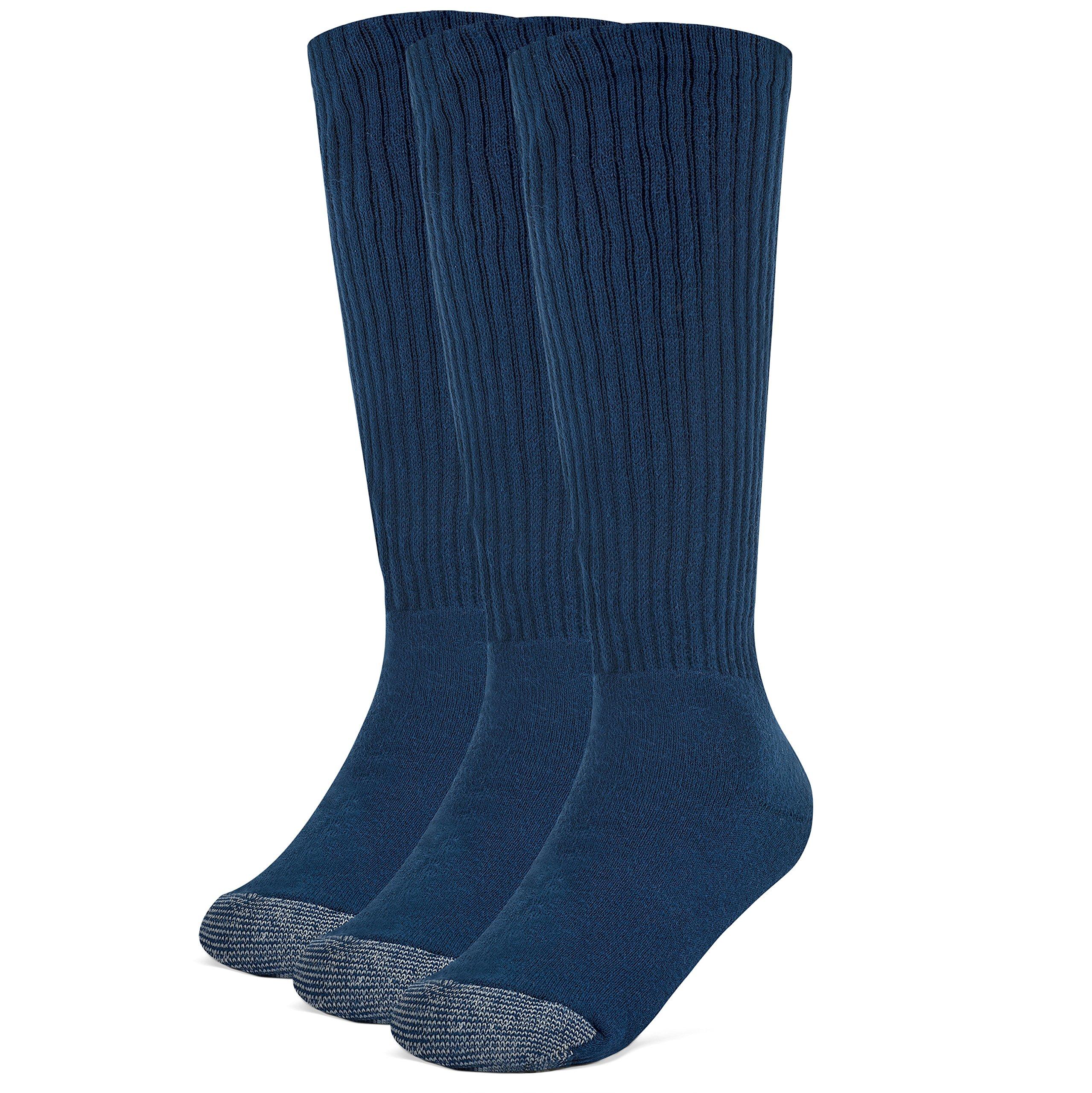 Galiva Boys' Cotton Extra Soft Over the Calf Cushion Socks - 3 Pairs, Small, Navy Blue