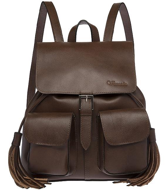 e96afbcab1b Bolsa tipo mochilas de piel de moda para mujer color café  Amazon ...