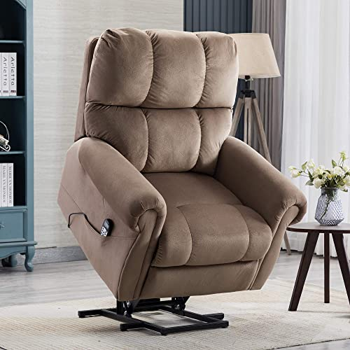 PUG258Y Power Lift Chair Electric Recliner for Elderly Heated Vibration Massage Fabric Sofa Motorized Living Room Chair with Side Pocket and Massage Remote Control, Luxurious, Light Brown