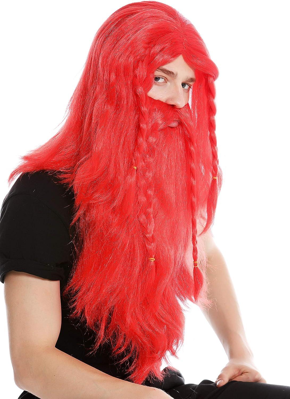 RJ033-P13 Peluca Larga roja y Barba Trenzada para Hombre Carnaval Vikingo b/árbaro Enano Germano Viejo WIG ME UP