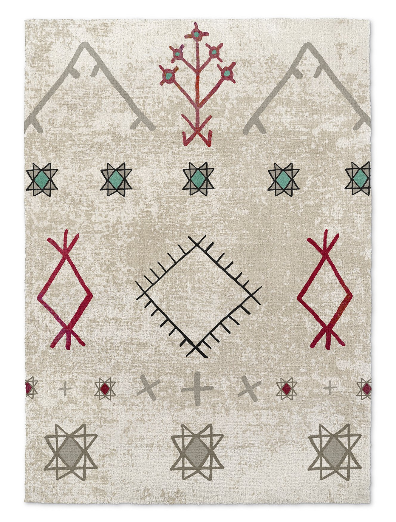 KAVKA Designs Nasse Area Rug, (Red/Turquoise/Ivory) - NAVAJO Collection, Size: 3x5x.5 - (TELAVC8093RUG35)