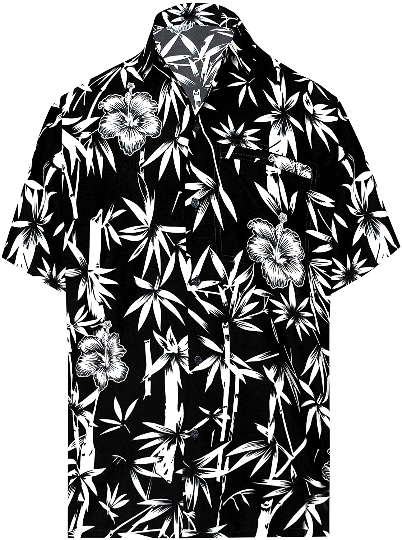 TALLA XS - Pecho Contorno (in cms) : 91 - 96. LA LEELA Shirt Camisa Hawaiana Hombre XS - 5XL Manga Corta Delante de Bolsillo Impresión Hawaiana Casual Regular Fit Camisa de Hawaii Negro