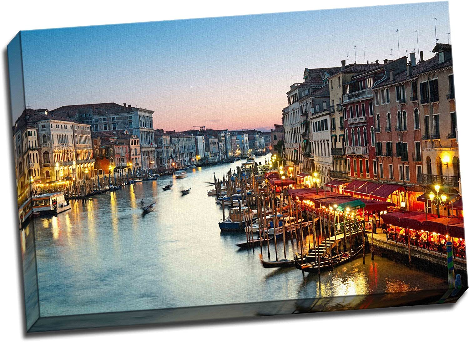 Venice Canvas Grand Canal After Sunset Art Print Picture Wall Art 30 X 20 Inches Amazon Co Uk Kitchen Home