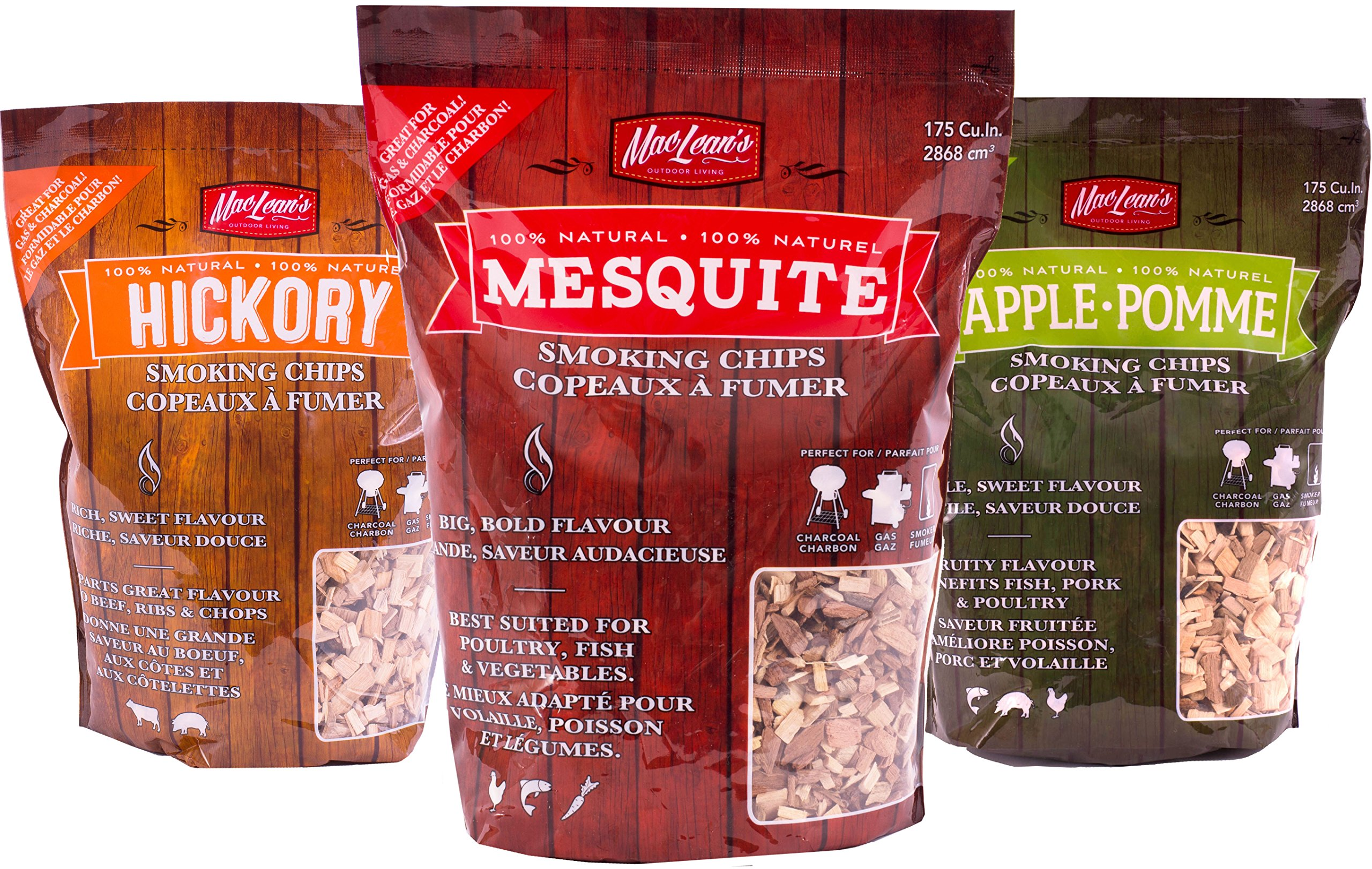 MacLean's Outdoor Barbecue Natural Wood Smoking Chips, One Bag BBQ Smoker Wood. (Mesquite Wood)