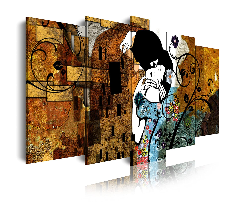 DEKOARTE modernes 5-teilig mit Klimt Wandbild Der Kuss Gustav Klimt, Stoff, mehrfarbig, 200 x 3 x 100 cm
