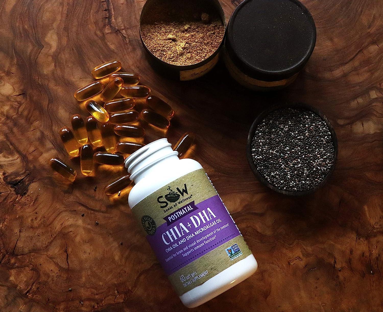 Amazon.com: SOW Chia Oil Omega 3+DHA - Cápsulas posnatales ...