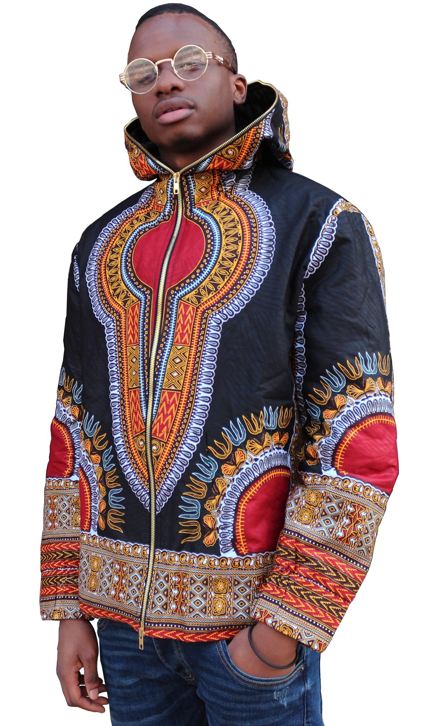 Shenbolen Mens Long Sleeve African Print Dashiki Short Jacket Outwear Coat (X-Large, A)