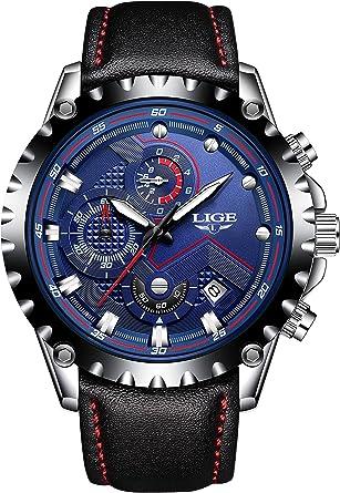 Kenon - Reloj Deportivo con cronógrafo de Acero y Piel auténtica, Resistente al Agua