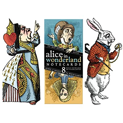 Lewis Carol Wonderland Greeting Card Boxed Set - 8 Die Cut Silhouette Cards Cards With Envelopes, and 4 Sticker Sheets - Alice, Queen of Hearts, Mad Hatter, and White Rabbit : Books : Office Products