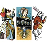 Lewis Carol Wonderland Greeting Card Boxed Set - 8 Die Cut Silhouette Cards Cards With Envelopes, and 4 Sticker Sheets - Alice, Queen of Hearts, Mad Hatter, and White Rabbit