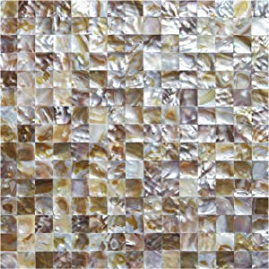 Art3d Seamless Mother of Pearl Backsplash Wall Tile in Natural Polychromy,Pack of 6 Tile,Size of Tile:11.8 x 11.8In