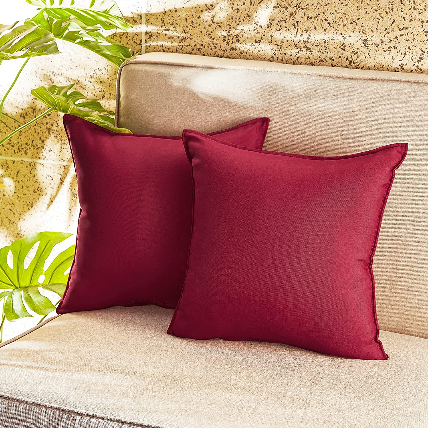 RYB HOME Waterproof Outdoor Pillow Covers Square Cushion Throw Pillowcase for Patio Couch Dining Chair Picnic Swimming Poolside Bench Sumbrella, 20x20 inch, Red, 2 Pcs
