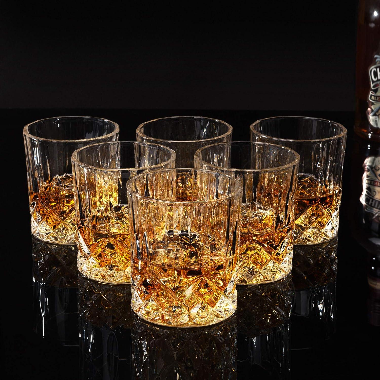 KANARS 6 Piezas Vasos de Whisky, Vaso de Whisky Robusto Cristalino 100% Sin Plomo para Escocés, Borbón y Más, Hermosa Caja de Regalo, 300ml