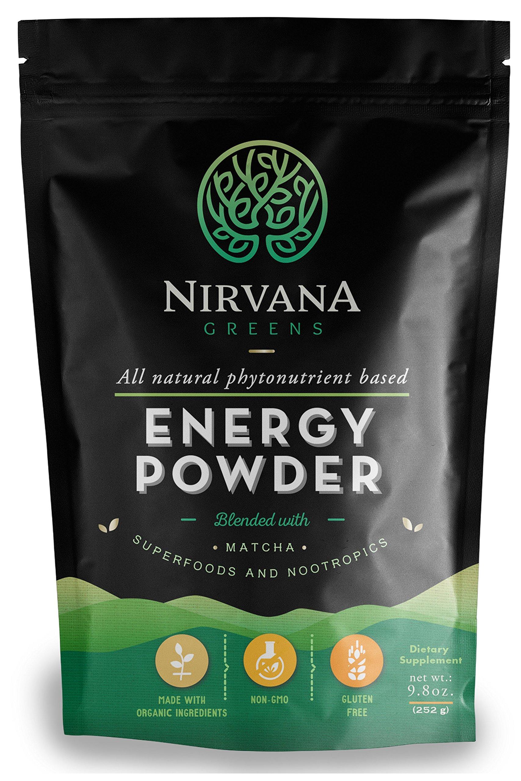 Nirvana Greens Superfood Energy Supplement - Organic Phytonutrient Based Energy Powder- 45 Servings - Matcha Spirulina Moringa with Cognitive Enhancers - Raw Gluten Free Vegan Alkalizing (9.8 oz)
