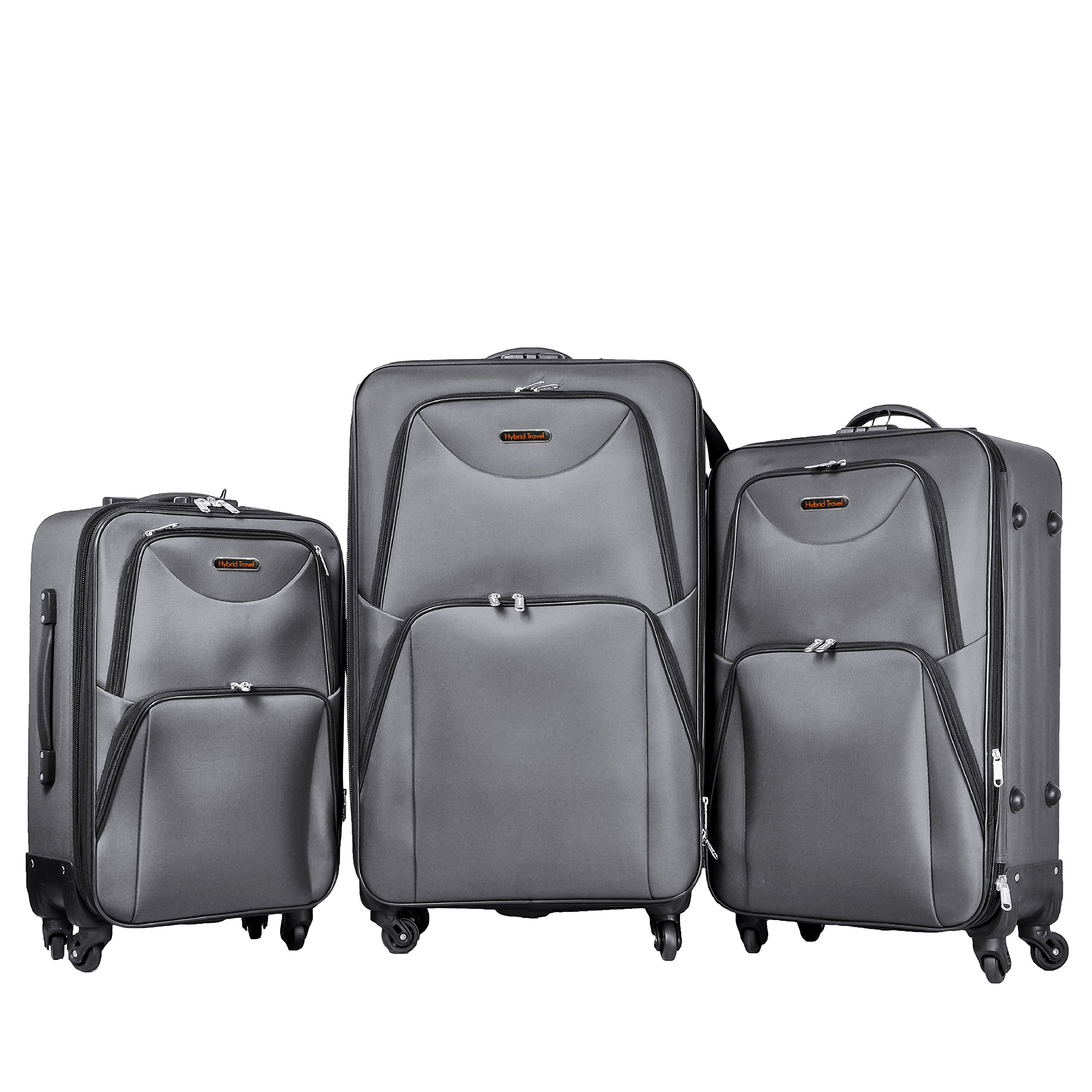 3 PC Luggage Set Durable Lightweight Soft Case Spinner Suitecase LUG3 ST1661 GREY